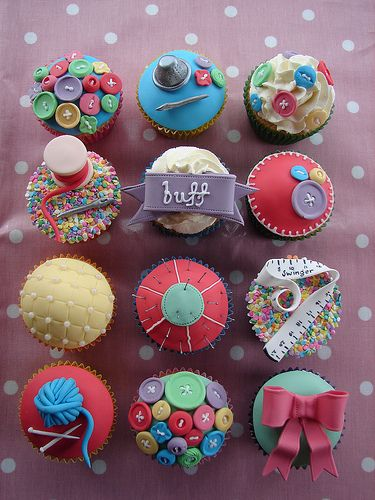 "Yum! More sewing cupcakes! Except...Oops! Does that tape measure say ""Swinger"" instead of ""Singer""? Looks like it!"