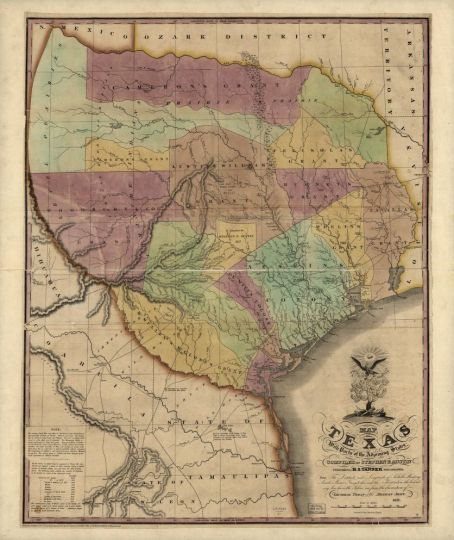 This 1837 map of the Republic of Texas was one of the first produced showing the new nation of Texas and its foreign ally, the United States.