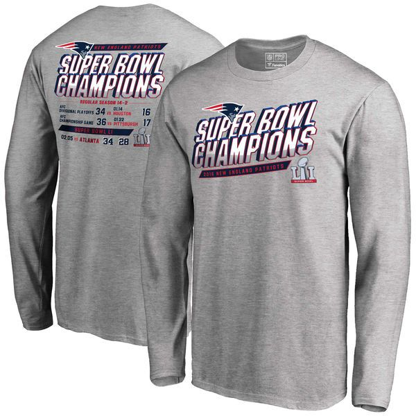New England Patriots NFL Pro Line by Fanatics Branded Super Bowl LI Champions Schedule Long Sleeve T-Shirt - Heathered Gray - $34.99