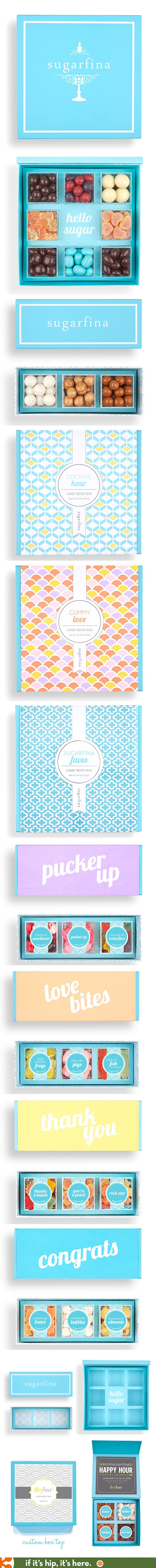 Sugarfina's beautiful packaging which uses soy-based inks and recycled paper.