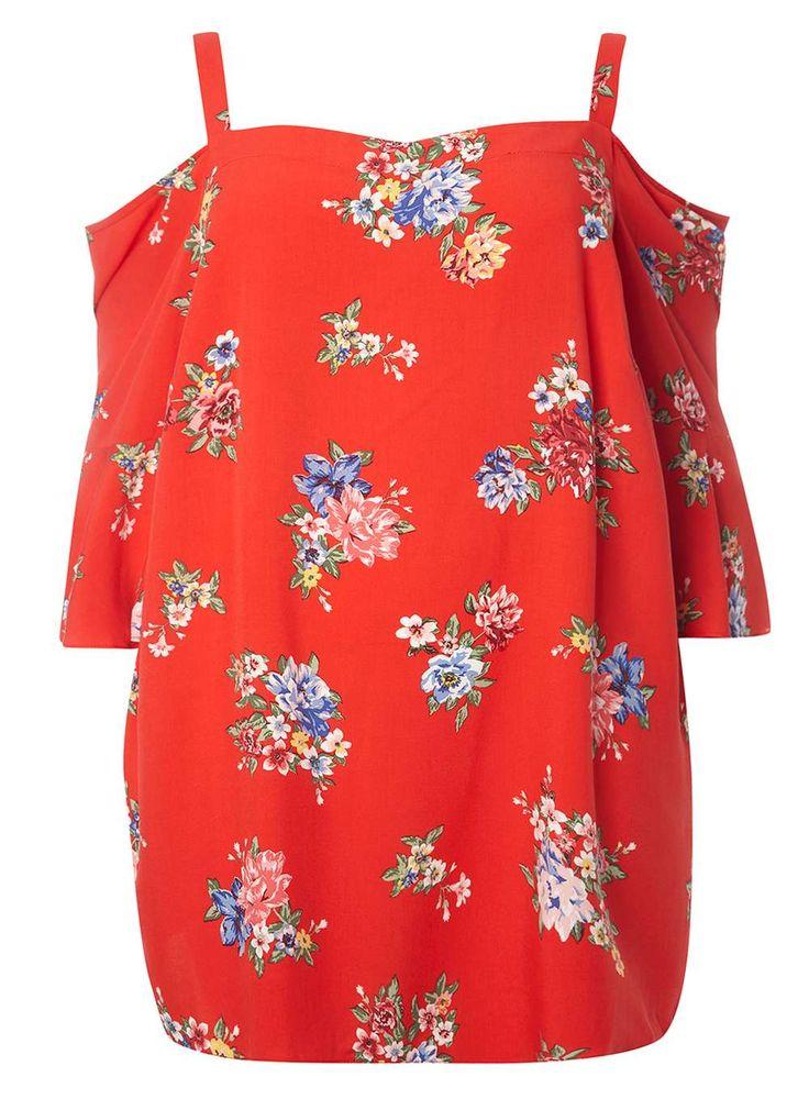 DP Curve Red Floral Bardot Top