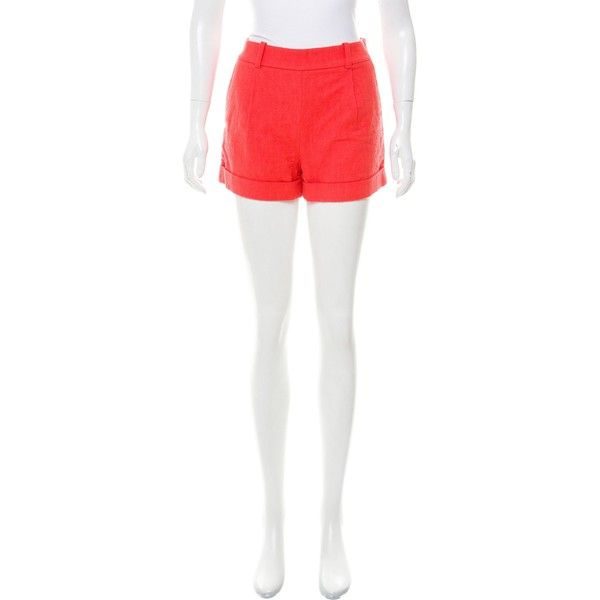 Pre-owned Diane von Furstenberg Textured High-Rise Shorts ($50) ❤ liked on Polyvore featuring shorts, pink, pink shorts, patterned shorts, high-waisted shorts, high-rise shorts and coral shorts