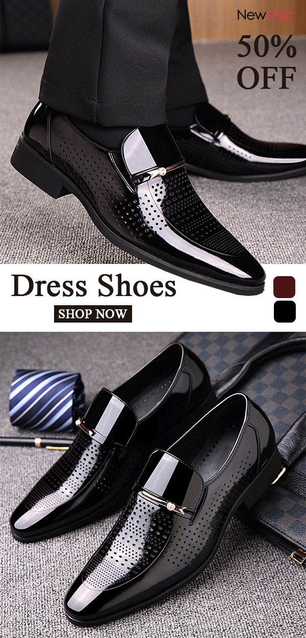 7409b53441ad Men Microfiber Leather Hole Breathable Casual Formal Dress Shoes in ...