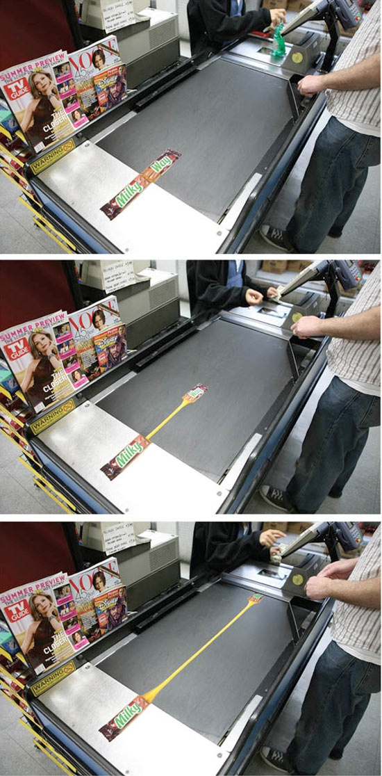 Very clever ad for Milky Way on the grocery conveyor belt