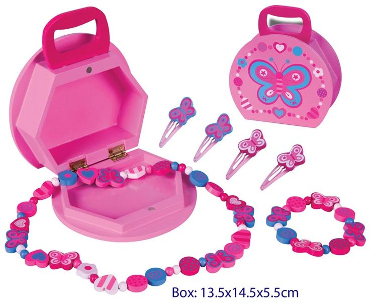 Wooden Butterfly Jewellery Box & Jewellery - $14.50 This is a great gift for any little girl Comes with a Wooden Jewellery box with carry handle, Wooden necklace, bracelet & 4 hair clips 3yrs +