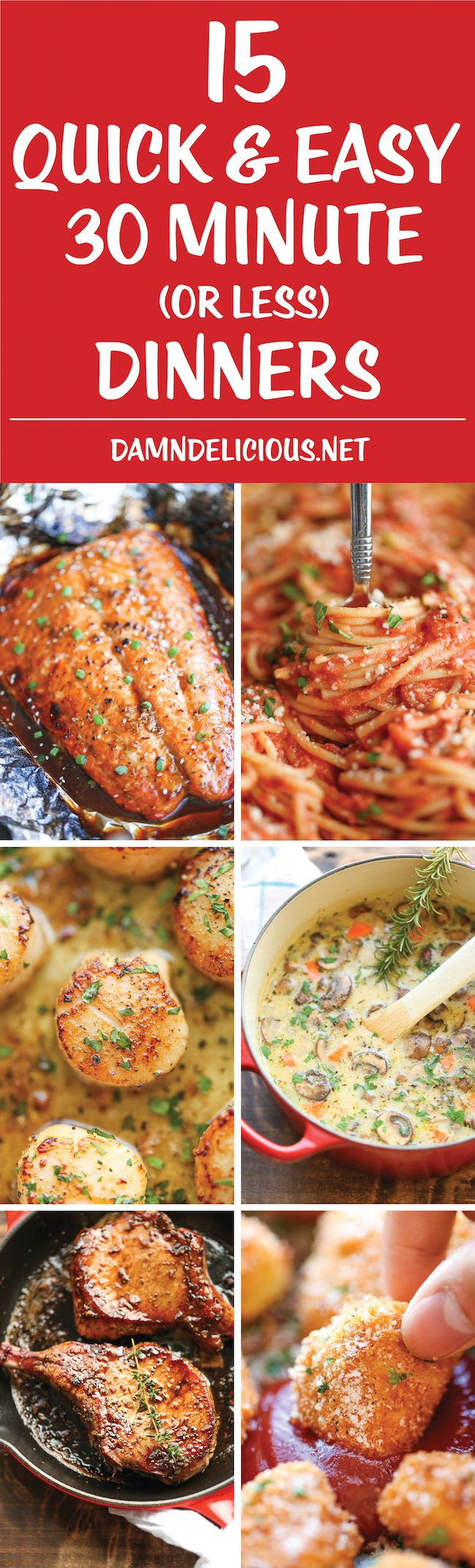 15 Quick and Easy 30 Minute Dinners - Dinner can be on the table in 30 min from start to finish with these fast, quick, easy, and delicious recipes!