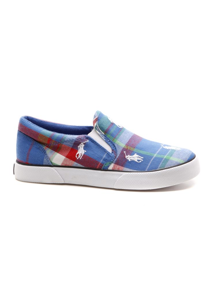 Polo Ralph Lauren Shoes - Child Polo-Bal Harbour Rep - Blue Multi  Plaid/White - These renowned branded shoes will have your kids styling \u0026  trendy in ...