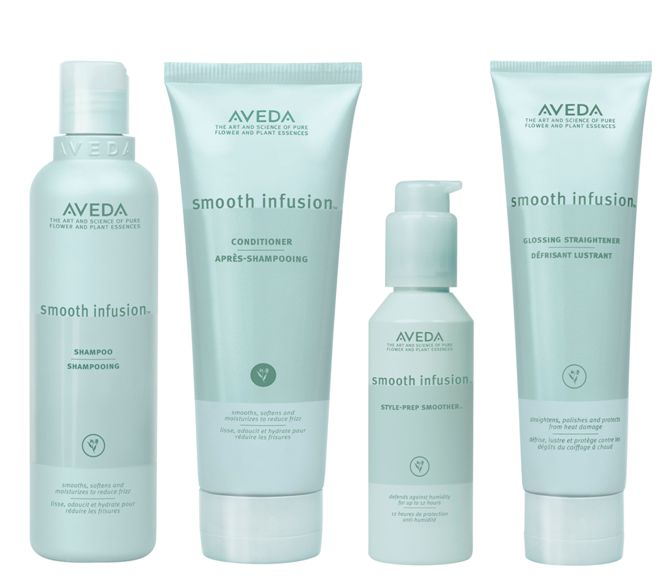 AVEDA Smooth Infusion Shampoo, Conditioner, Style Prep Smoother & Glossing Straightener