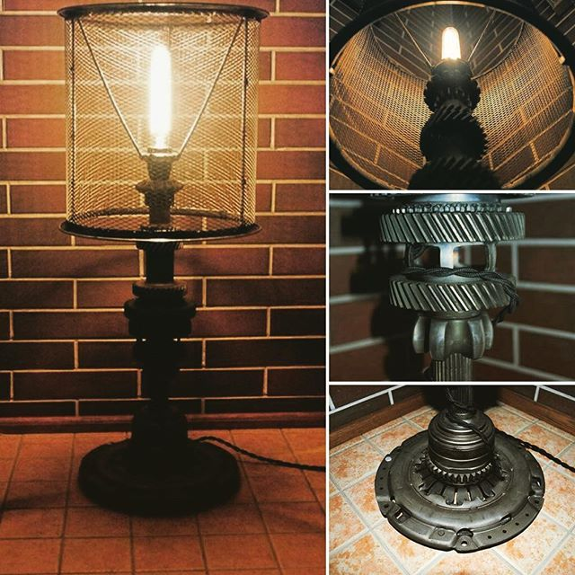https://www.facebook.com/groups/gearworkshop/ #table_lamp #steampunk #gear_lamp #motorlamp #handmade #loft #GearWorkshop