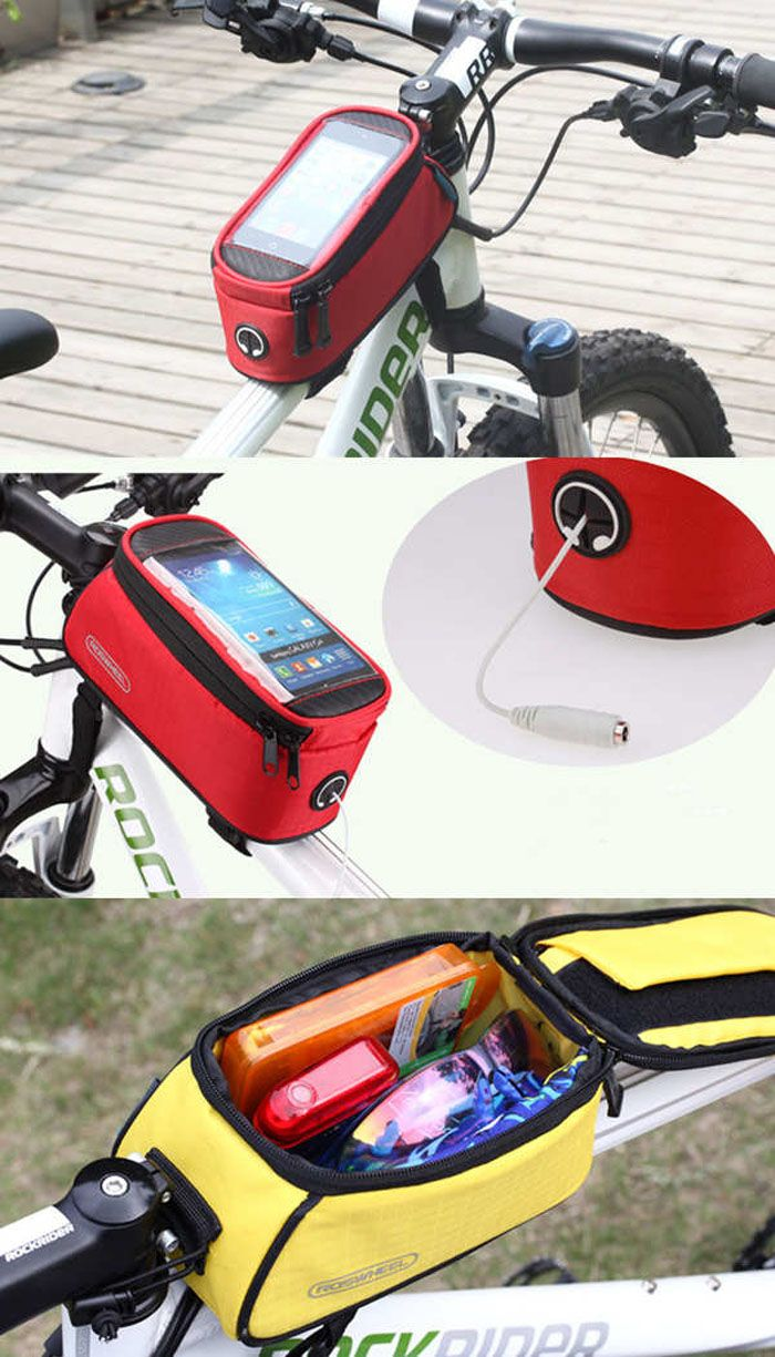 Roswheel Water Resistant Bicycle Touch Screen 5.5 inch Phone Saddle Bag Holder…
