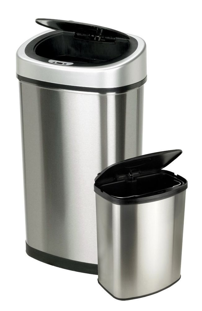 2 Touchless Lid Kitchen Garbage Trash Cans Stainless Steel Wastebasket Storage