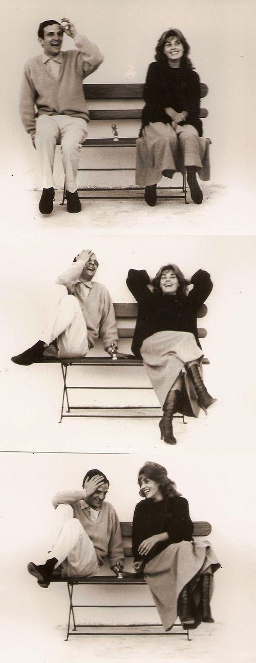"Jeanne Moreau and François Truffaut on the set of ""Jules et Jim"" [1962]"