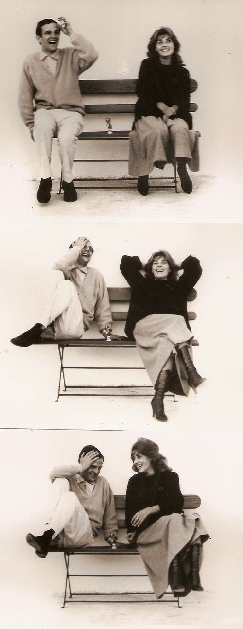 Jeanne Moreau and François Truffaut on the set of Jules et Jim (1962)