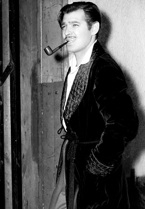 Smoking Jacket!! Clark Gable on the set of Gone with the Wind (1939)                                                                                                                                                                                 More