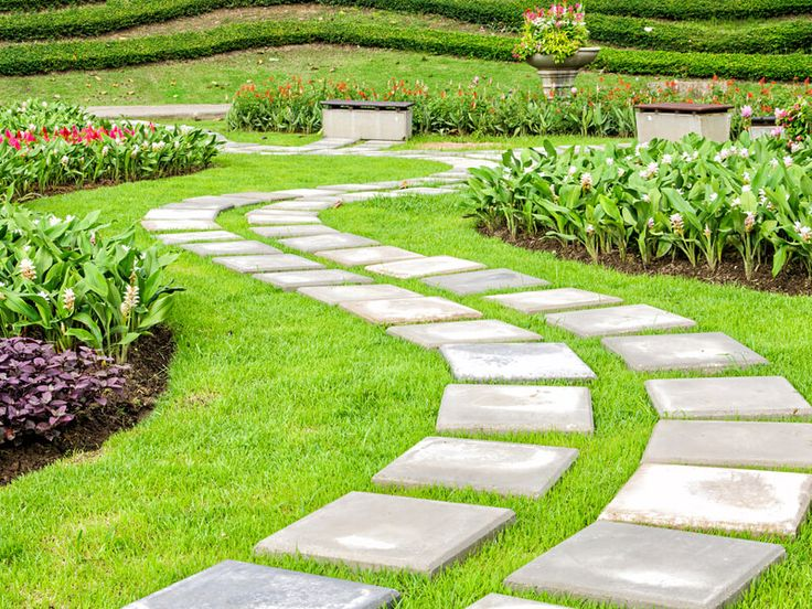 The path in the garden. Try experimenting with square shaped stones when you construct your pathway.