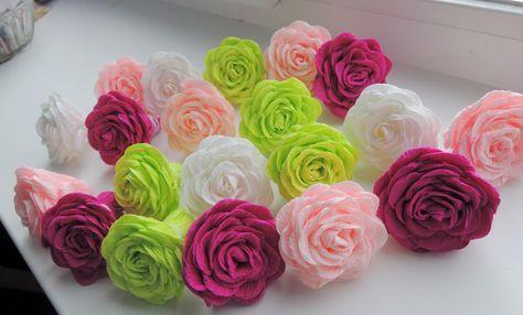 Крученые розы из гофрированной бумаги | Специалист по дизайну и декору