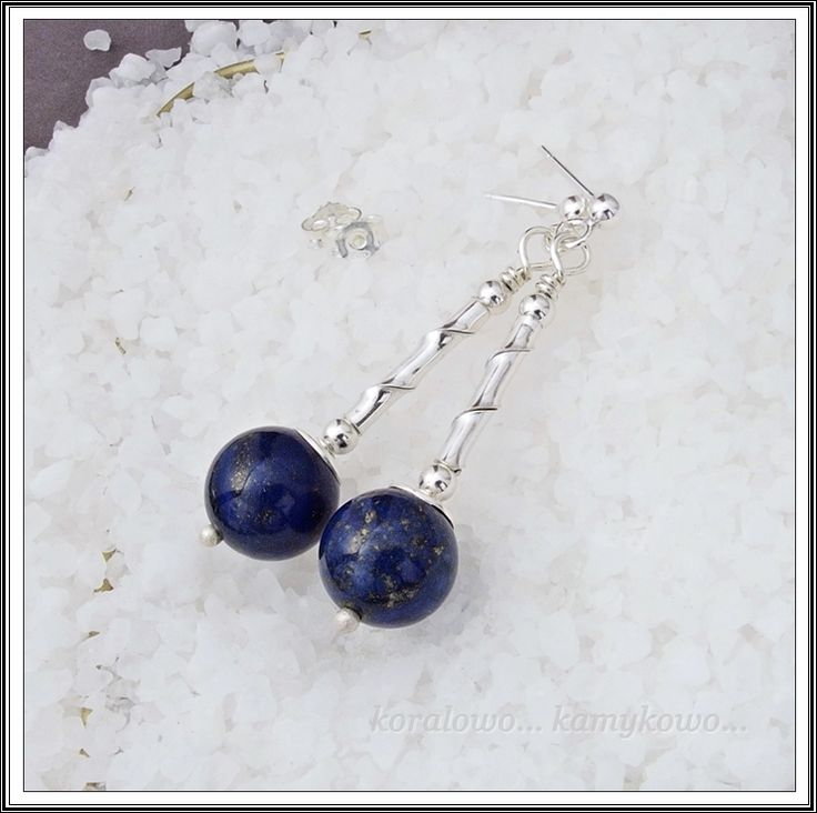 lapis lazuli z pirytem, srebro
