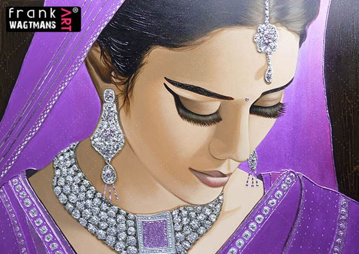 "Beautiful Indian Bride painting! Extra large portrait 'Jewel Of India' on canvas (55.1"" x 78.7""). Amazing portrait of an Indian Bride. Exclusive art by Frank Wagtmans!"