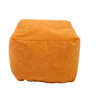 Gold Medal Corduroy Small Bean Bag Ottoman Orange - 1BF11059108