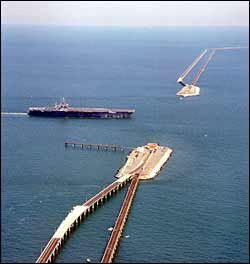 Ship navigating through one of the submerged tunnel sections of the Chesapeake Bay Bridge-Tunnel, Cape Charles and Virginia Beach, Virginia