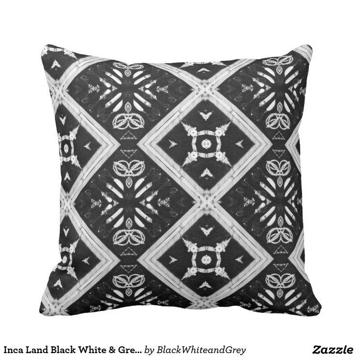 Inca Land Black White & Grey Throw Pillow
