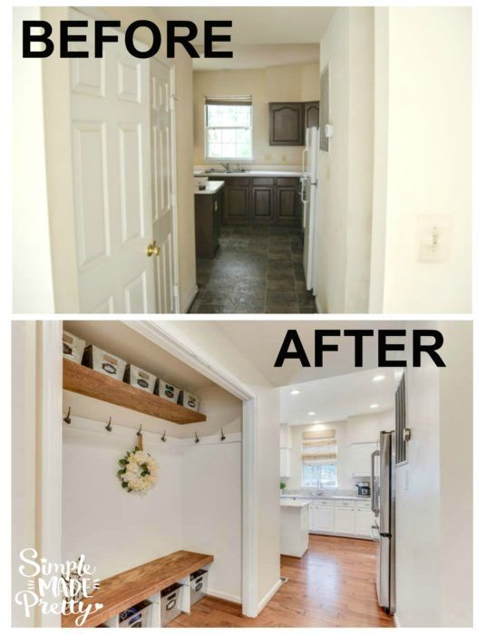This is my dream mudroom! I need a mudroom for our entryway storage idea. This mudroom has a bench and shelf with storage and was a closet into a mudroom. I love these galvanized baskets to organize winter gloves, hats, and shoes. This small mudroom DIY is right off the garage entryway and hallway.