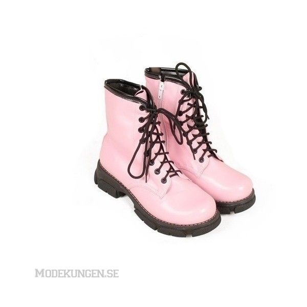 Boots i Dr. Martens-stil ($70) ❤ liked on Polyvore featuring shoes, boots, ankle booties, pink, dr. martens, women, pink booties, dr martens boots and pink boots