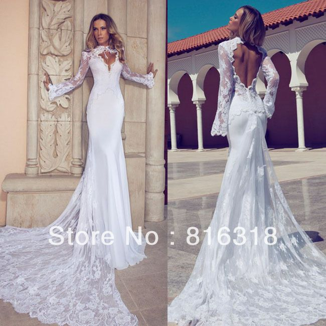 Vestido de noiva white 2014 open back lace wedding dresses for Vintage lace wedding dress open back