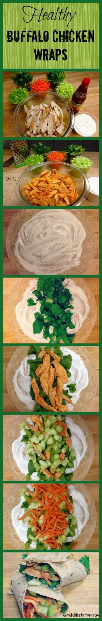 Healthy Buffalo Chicken Wraps.  www.dietitianbrittany.com