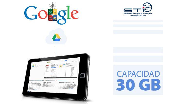 Correo institucional Google entrega 30GB de almacenamiento para miembros de la Universidad. Ver más en http://uchile.cl/u99948