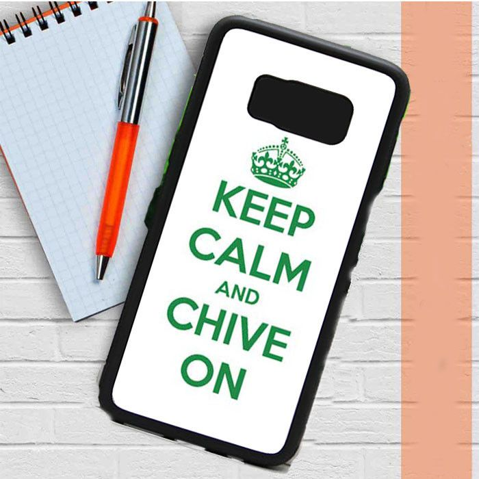 Keep Calm Chive On Green White Samsung Galaxy S8 Plus Case Dewantary