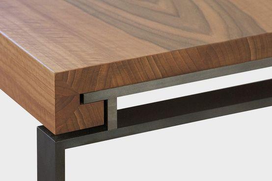 wood & steel table detail » #coffee #dining