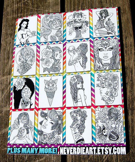 50 pagina zwart en wit volwassen kleurboek nooit door NeverDieArt