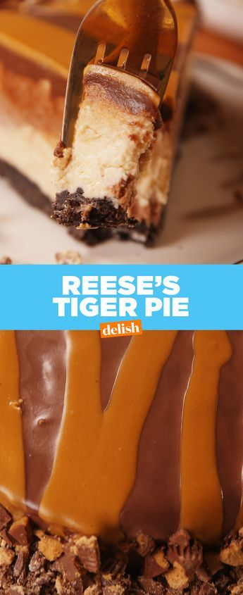 The inside of this Reese's Tiger Pie looks even better than the outside. Get the recipe from Delish.com.