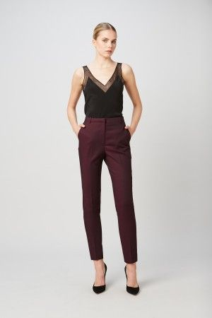 MILLIE MACKINTOSH ANODA HIGH WAISTED CIGARETTE TROUSERS IN BURGUNDY