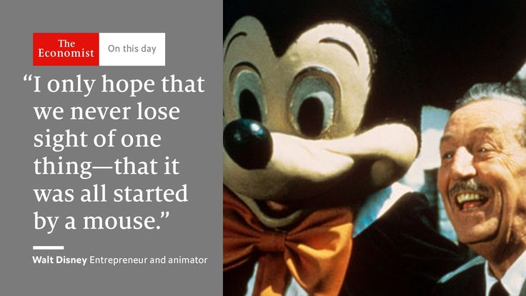 The Economist retweeted:       Walt Disney was born #OnThisDay 1901. He had an intuitive grasp of fables http://ift.tt/2g18TdH Look素材On this dayThe Economist #December 6 2016 at 02:06AM#via IF