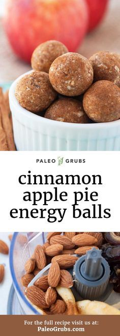 These Paleo energy balls are kind of like the most energy packed bite of the most pure apple pie essence you have ever tasted in your life! 4 ingredients - raw almonds, dehydrated apples, dates, and cinnamon.