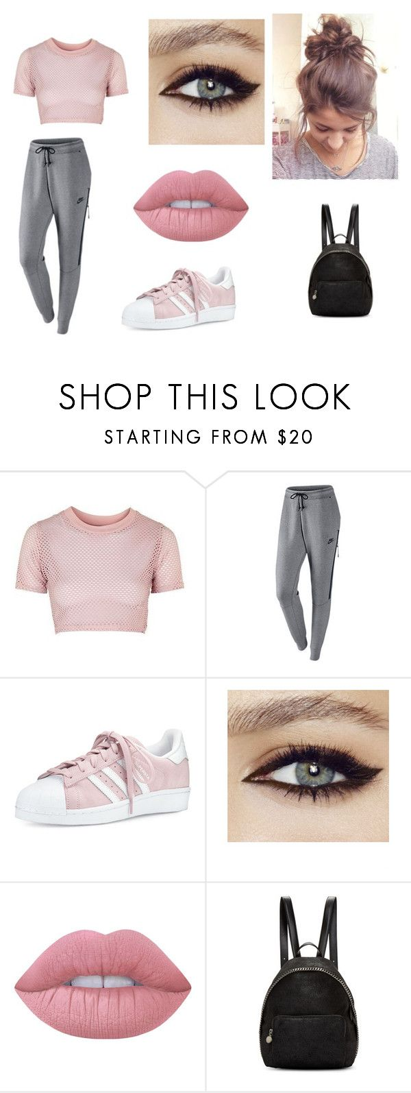 """Sans titre #482"" by radio-girl-21 ❤ liked on Polyvore featuring Topshop, NIKE, adidas, Lime Crime and STELLA McCARTNEY"