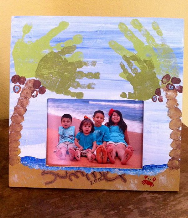Footprint Beach and Palm Trees 25 Fun and Beautiful Handprint & Footprint Crafts for Your Kids to Make This Summer.