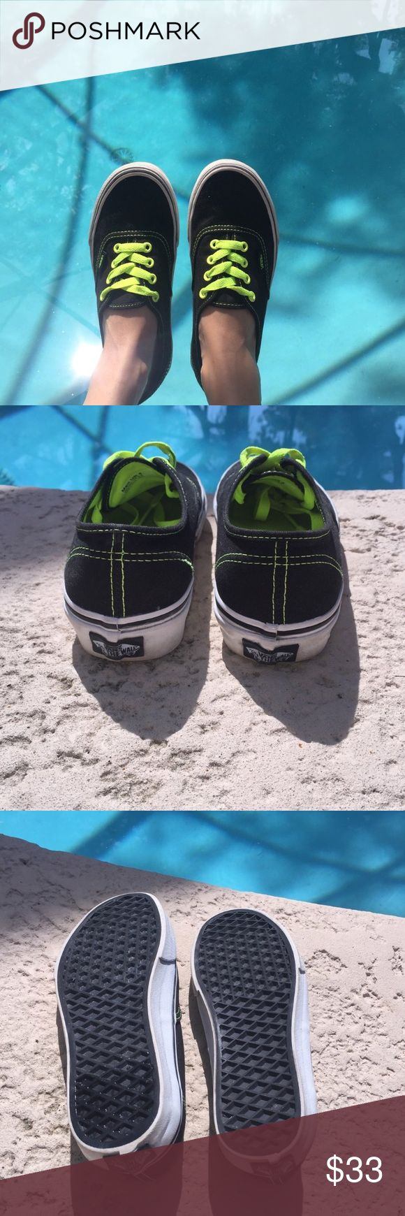 Black & Neon Classic Vans Classic black and #neon #Vans. Worn no more than twice they are in great condition! Vans Shoes Sneakers