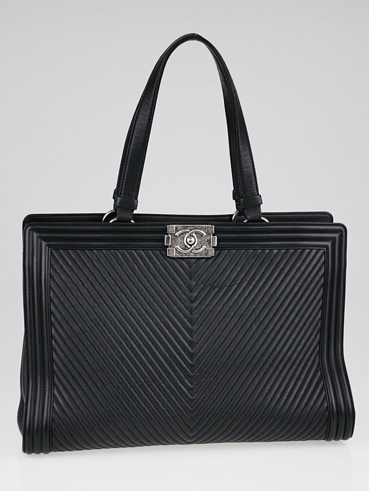Chanel Black Chevron Quilted Leather Shopping Tote Bag