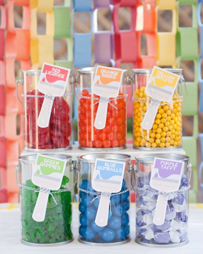 Candy Buffet for Art Party. Or change the labels and have a rainbow candy party!