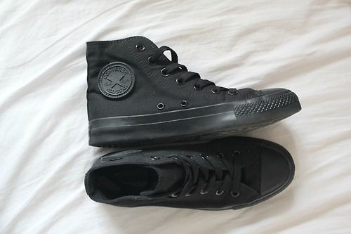 Black on Black High Top Converses! JUST GOT THESE!! So comfy!! Instagram pic of mine sure to follow ;j