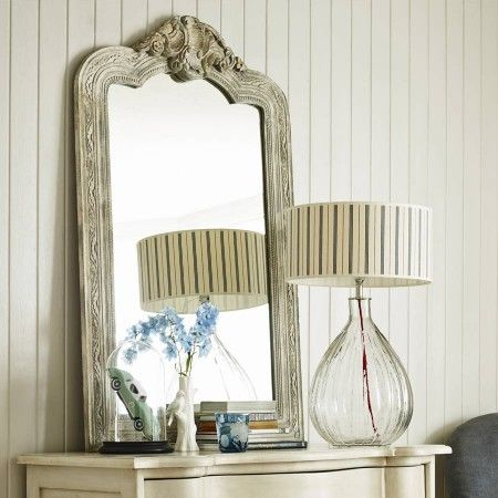 White and Gold Distressed Mirror - Dressing Table Mirrors - Mirrors - Lighting & Mirrors