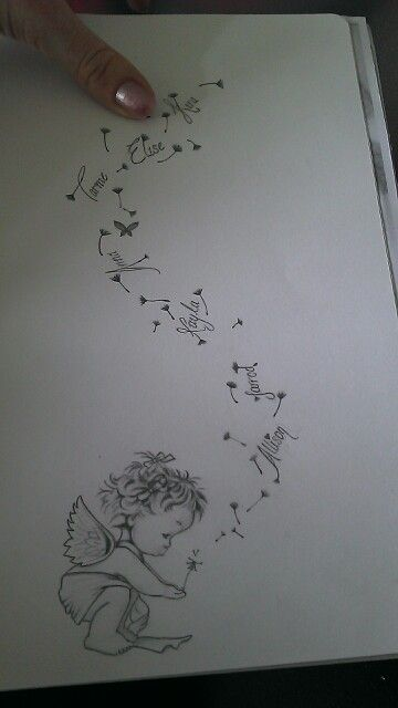 Kims lil angel (representing a deceased baby) blowing wishes with siblings names listed. Tattoo design www.fb.com/170247299803496 to request your own artwork More