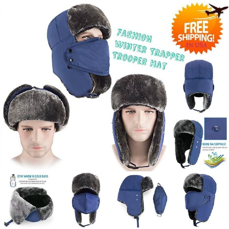 Warm Winter Trapper Hunting Hat Ushanka Ear Flap Chin Strap Cap & Windproof Mask #mysuntown #CustomStyle