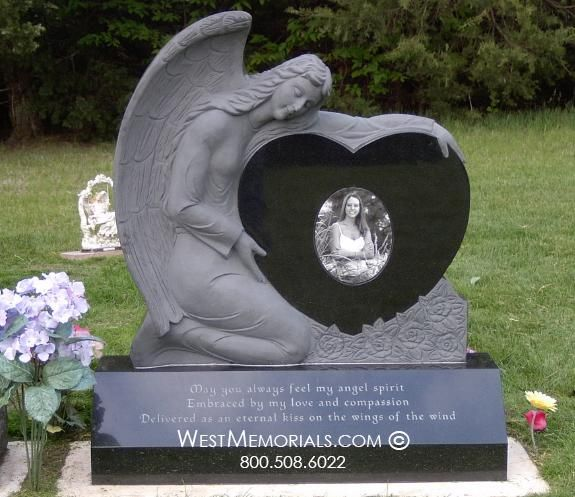 Granite Headstone With Carved Angel Holding Heart West