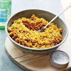 Sauté the rice and curry first­--the grains will toast and the spices will become even more fragrant.