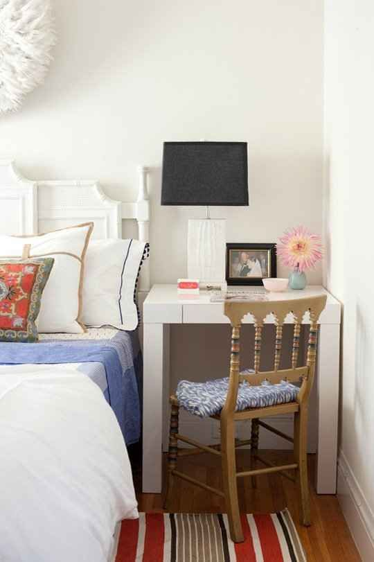 Disguise your desk as a bedside table. | 23 Hacks For Your Tiny Bedroom