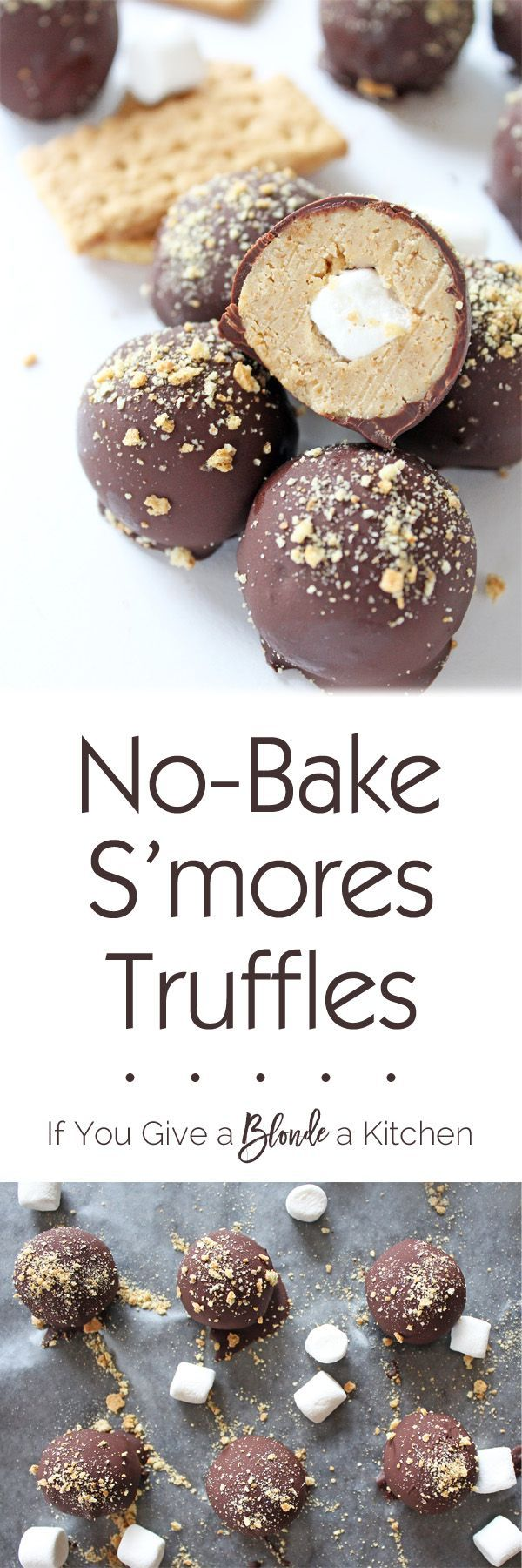 S'mores truffles are no-bake summertime treats made with crushed graham crackers, marshmallow fluff, melted chocolate and a mini marshmallow hiding inside! | Recipe on http://www.ifyougiveablondeakitchen.com
